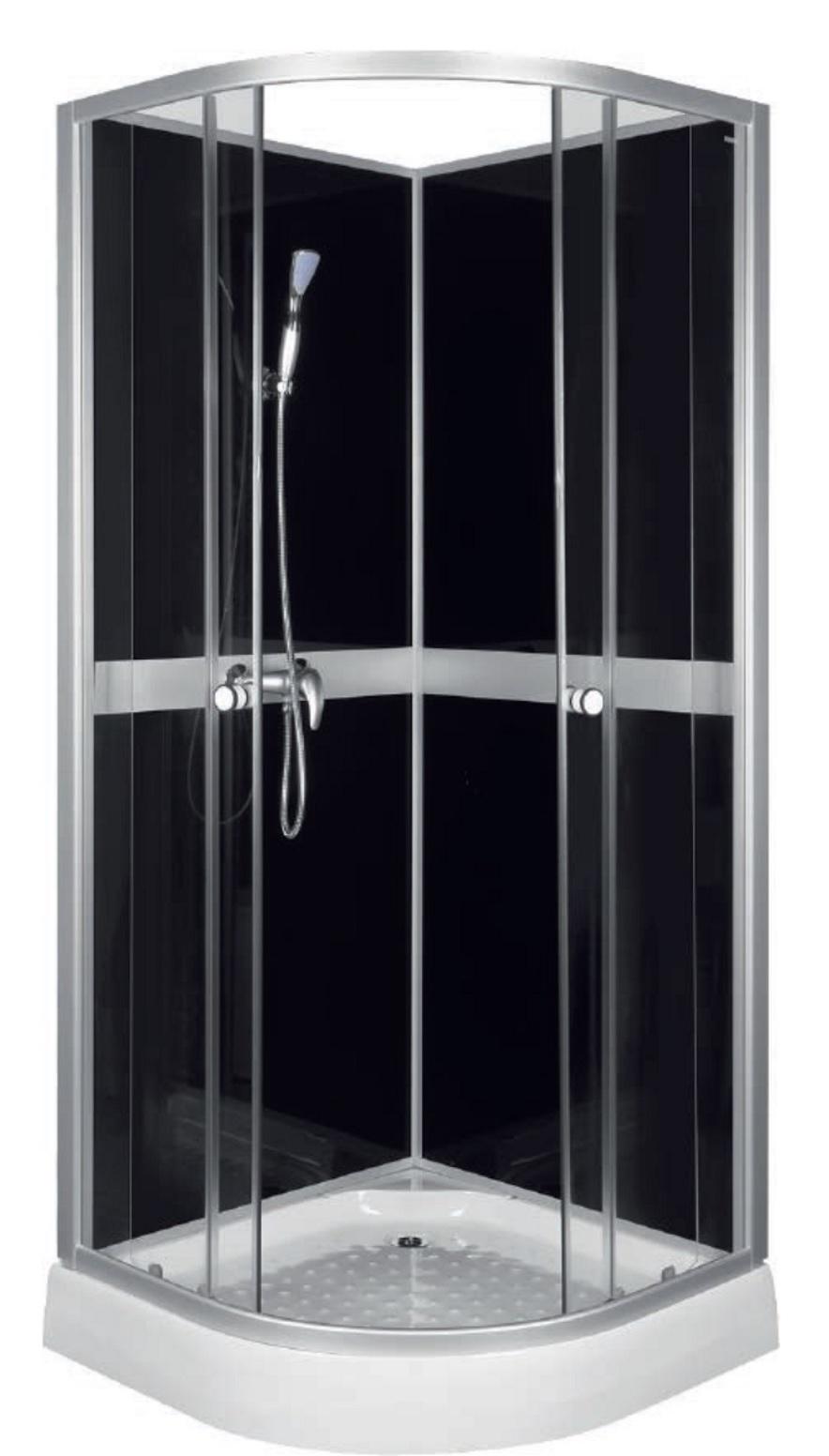 Classic Black Kabina Prysznicowa Natryskowa Z Tylnymi ściankami